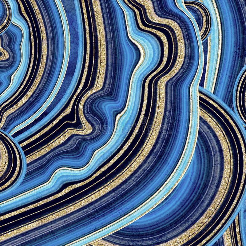 Abstract background, fake stone texture, agate with blue and gold veins, painted artificial marbled surface, fashion marbling. Illustration vector illustration