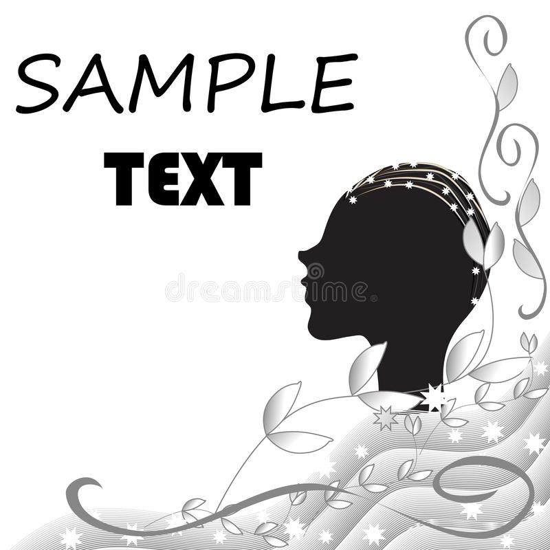 Abstract black and white background with the silhouette of a female head stock illustration