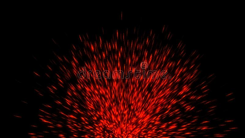 Abstract background with fire sparks. Abstract backdrop with fire sparks isolated on black background. 3d rendering vector illustration