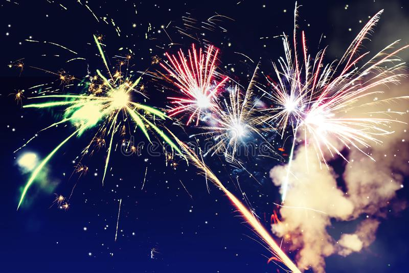 Abstract background. Fireworks circle blur. Colorful in celebration. Background festive New Year stock photo