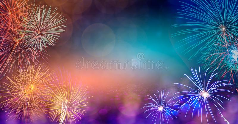 Abstract  Background With Fireworks.Background of new years day celebration Many colorful royalty free stock photo