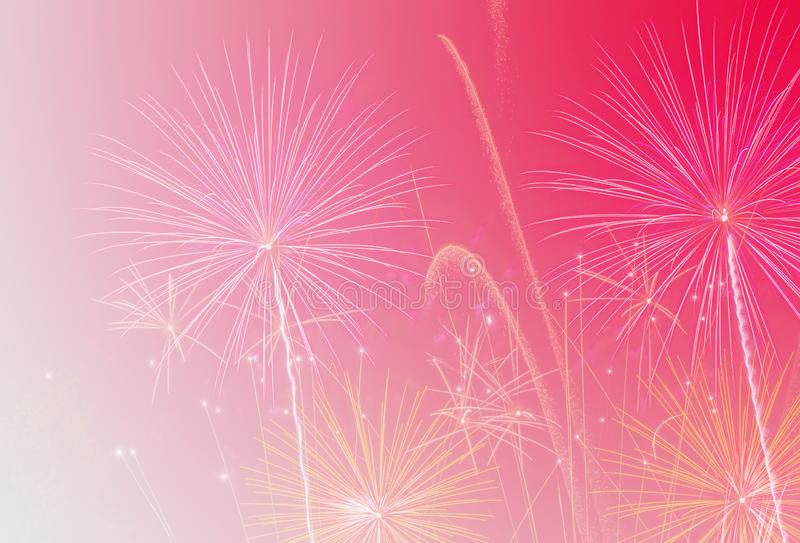 Abstract background with fireworks and soft pink for celebration Happy New Year or Christmas day stock photos