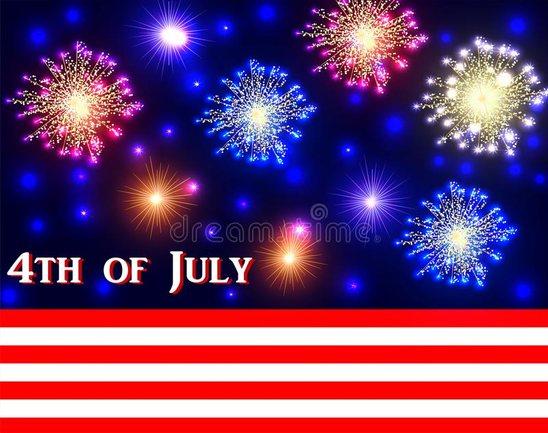 Abstract background with a flag of America and fireworks royalty free illustration