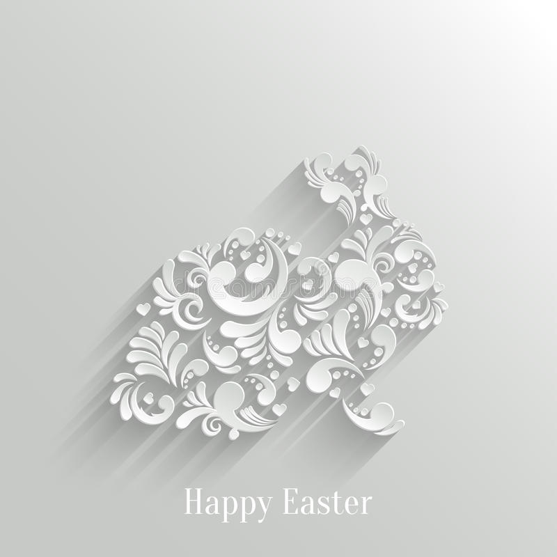 Abstract Background with Floral Easter Rabbit vector illustration