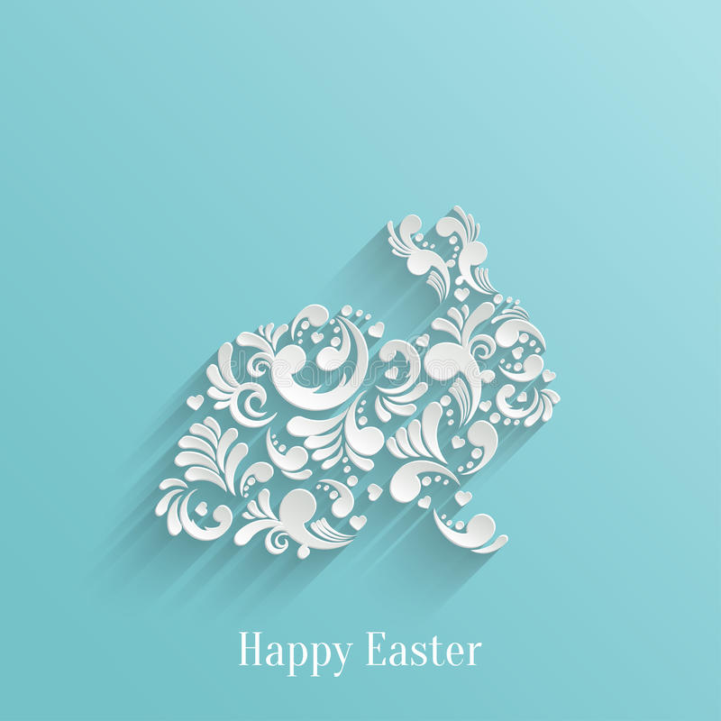 Abstract Background with Floral Easter Rabbit stock illustration