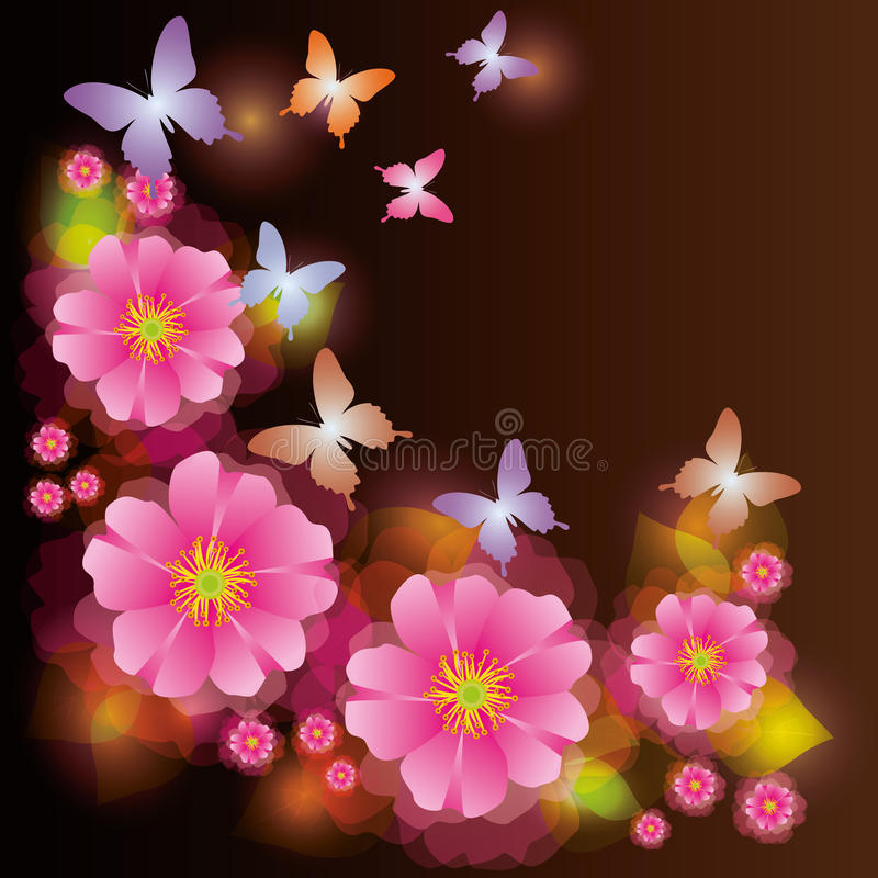 Abstract background with flower and butterfly royalty free illustration