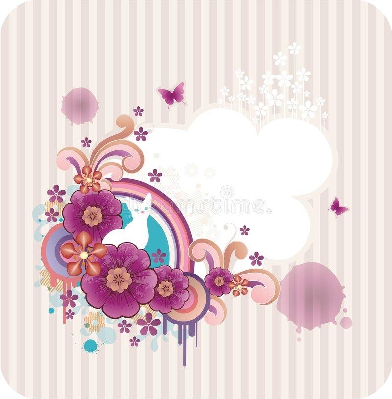 Abstract background with flowers stock illustration