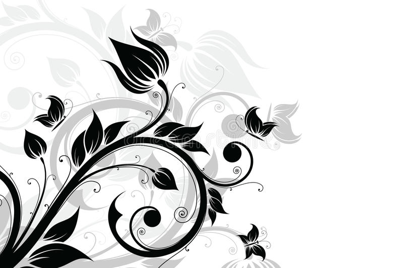 Abstract Background With Flowers And Butterfly Stock Photography