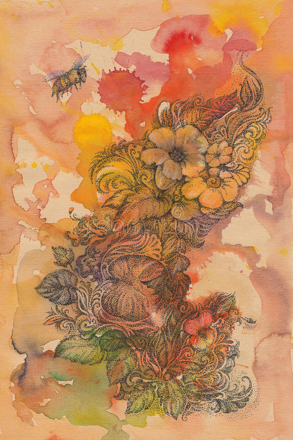 Abstract background of flowers and handwritten bees, watercolor. stock illustration