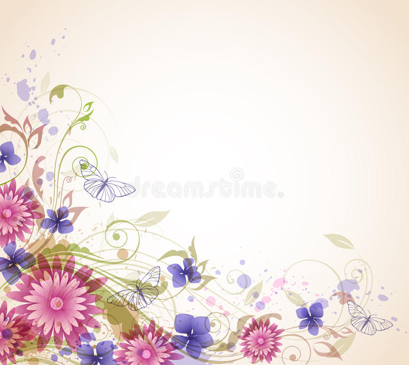 Abstract background with flowers. Abstract vector floral background with pink flowers and butterflies vector illustration