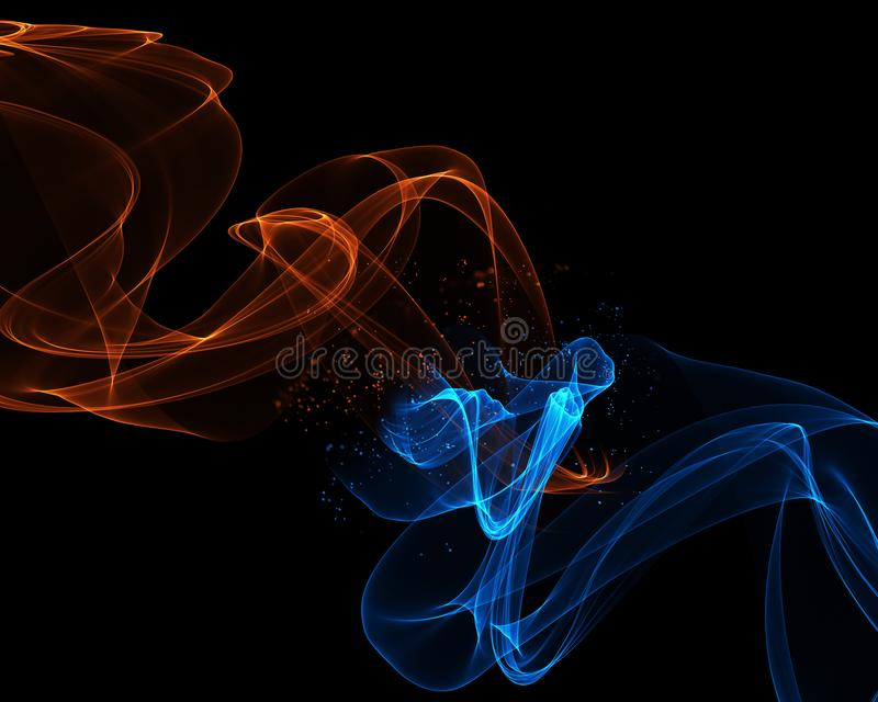 Abstract background with flowing lines in fire and ice colours royalty free illustration