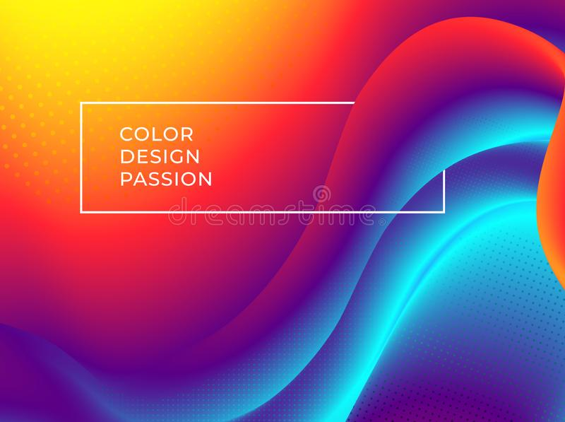 Abstract background with a fluid gradient color flow. And motion of a wavy liquid lines. Eps10 stock illustration