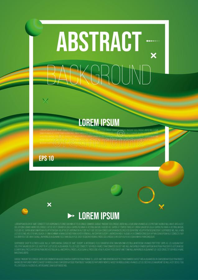 Abstract background, flyer with 3d flow shape in green color. Liquid wave with ball royalty free stock images