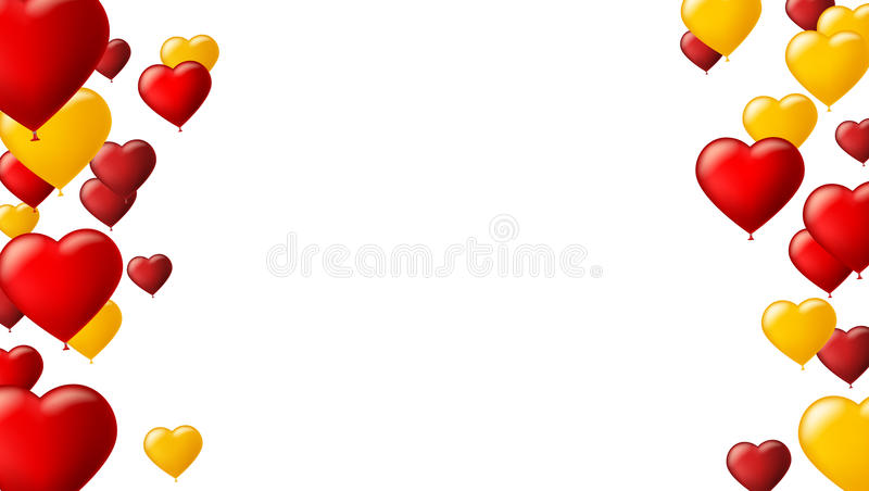 Abstract background with flying colored balloons. Template for greeting card with air balloons in the shape of a heart. royalty free illustration