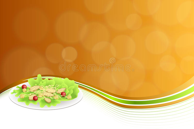 Abstract background food chicken Caesar salad tomato crackers cheese green red orange yellow frame illustration stock illustration