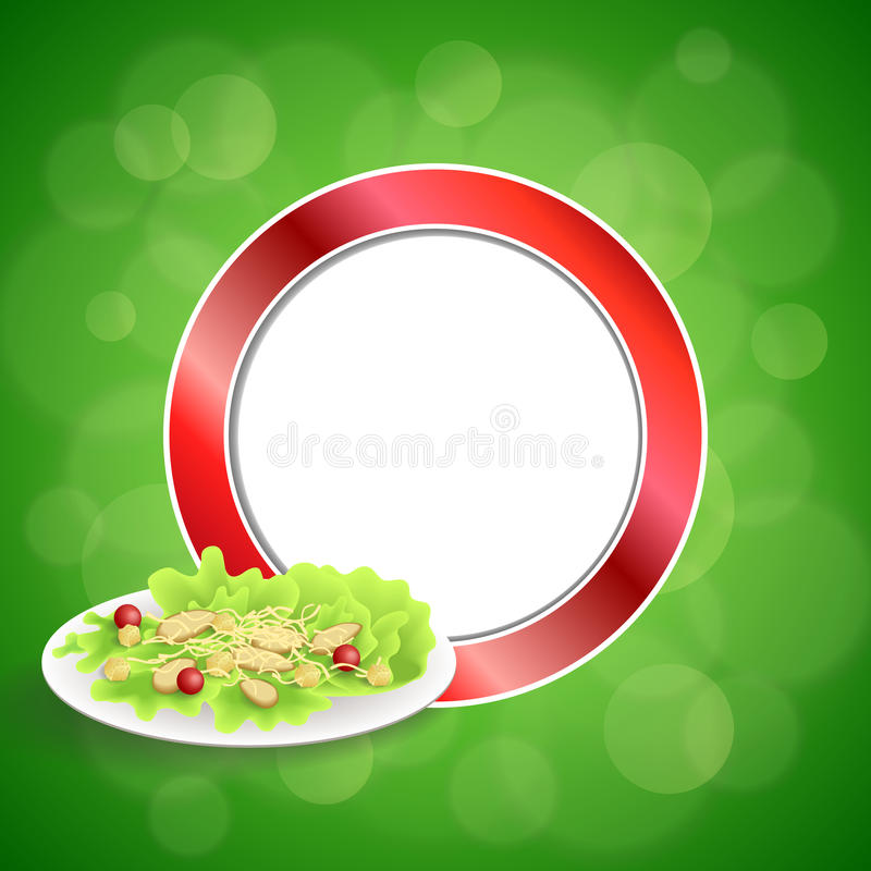 Abstract background food chicken Caesar salad tomato crackers green red circle frame illustration vector illustration