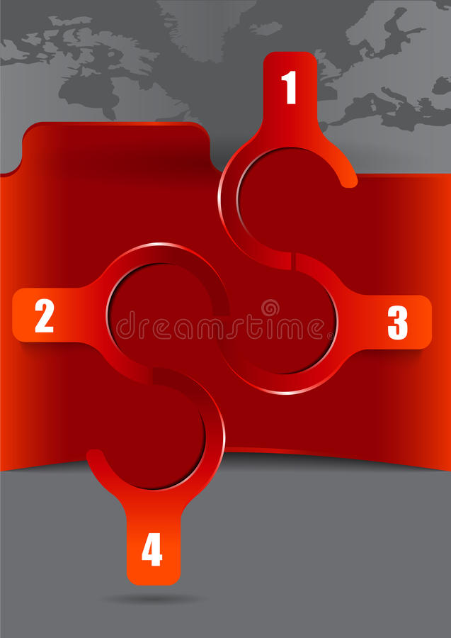 Abstract background with four steps and continents royalty free illustration