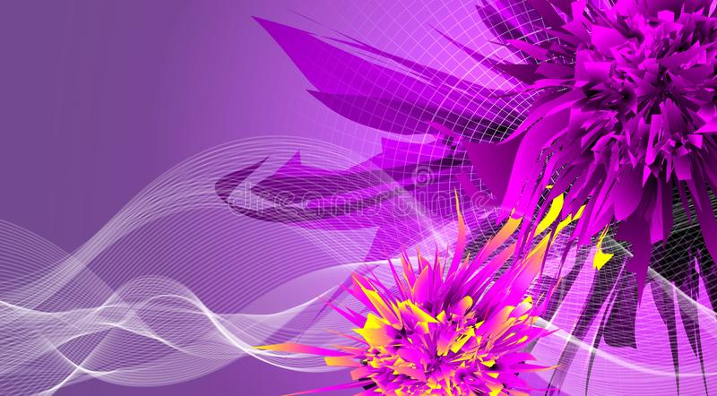 Abstract background with futuristic flowers and wave royalty free stock photos
