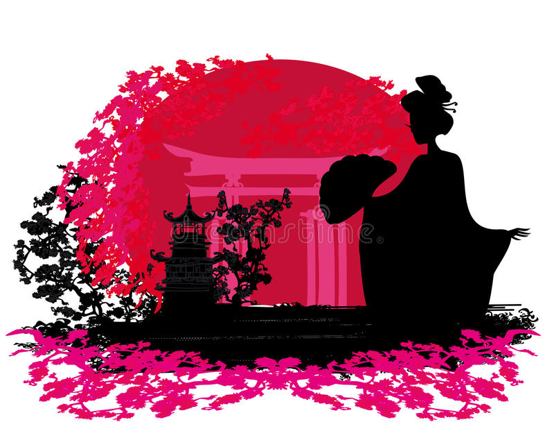 Download Geisha Silhouette At Sunset Stock Illustration - Image: 29736628