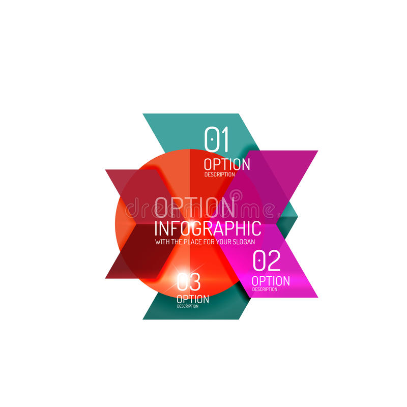Abstract background, geometric infographic option templates. Vector colorful business presentation or data brochure layouts with sample text vector illustration