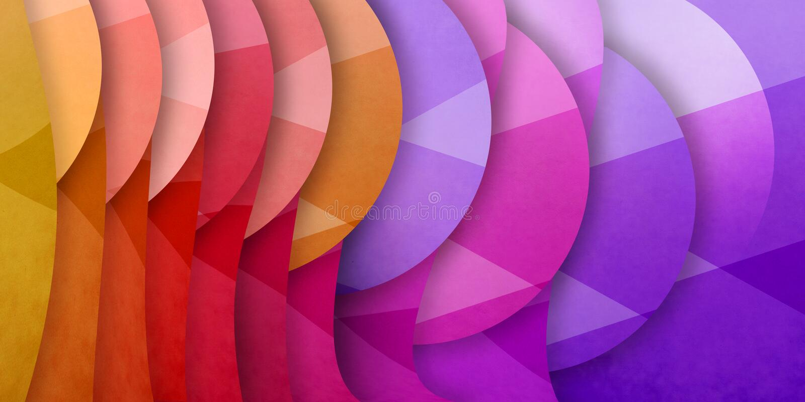 Abstract background with geometric unique pattern and layers of bright colors of blue pink orange red and yellow, circles and tria. Ngle shapes in modern royalty free stock images