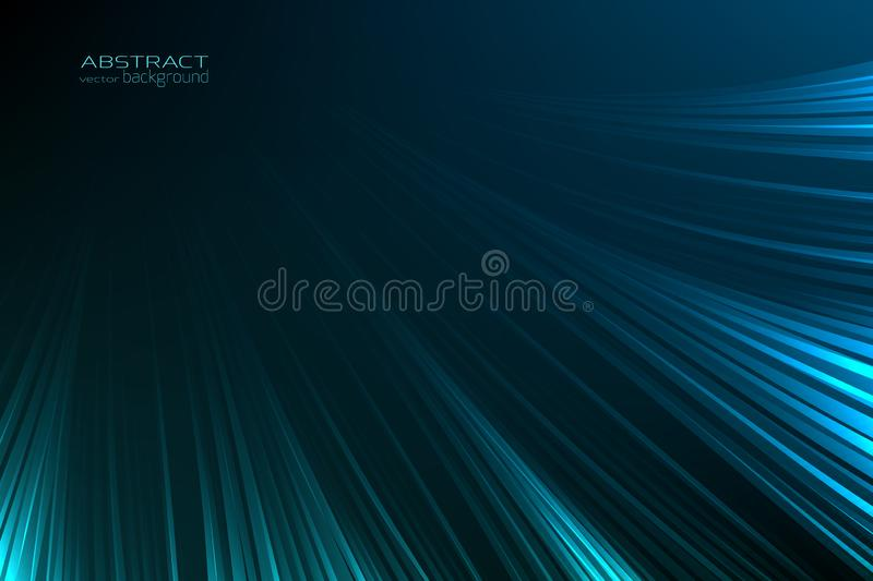 Abstract background glow neon blue light lines. Energy flash luminous glow ray trace glitter. Digital technology. royalty free illustration
