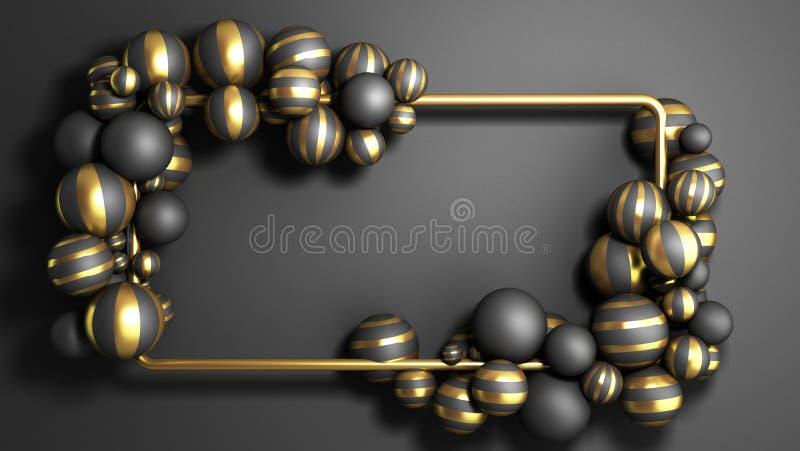 Abstract background gold frame on a black background with striped elegant balls 3d render vector illustration