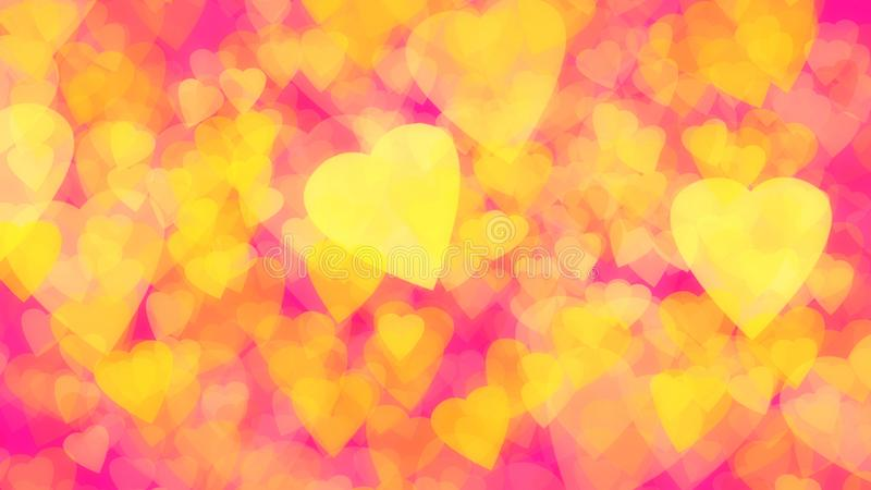 Abstract background of gold yellow hearts plastic pink royalty free stock photography