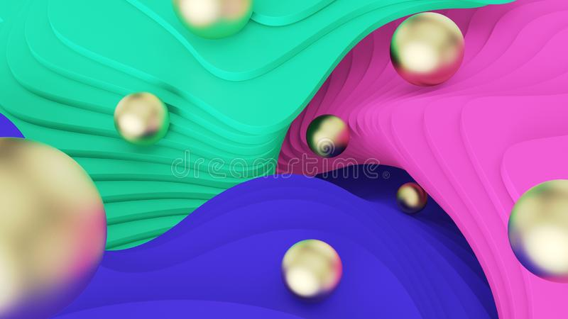 Abstract background. Golden balls roll on green, pink and blue steps. psychedelic reality and parallel worlds. 3d illustration stock image