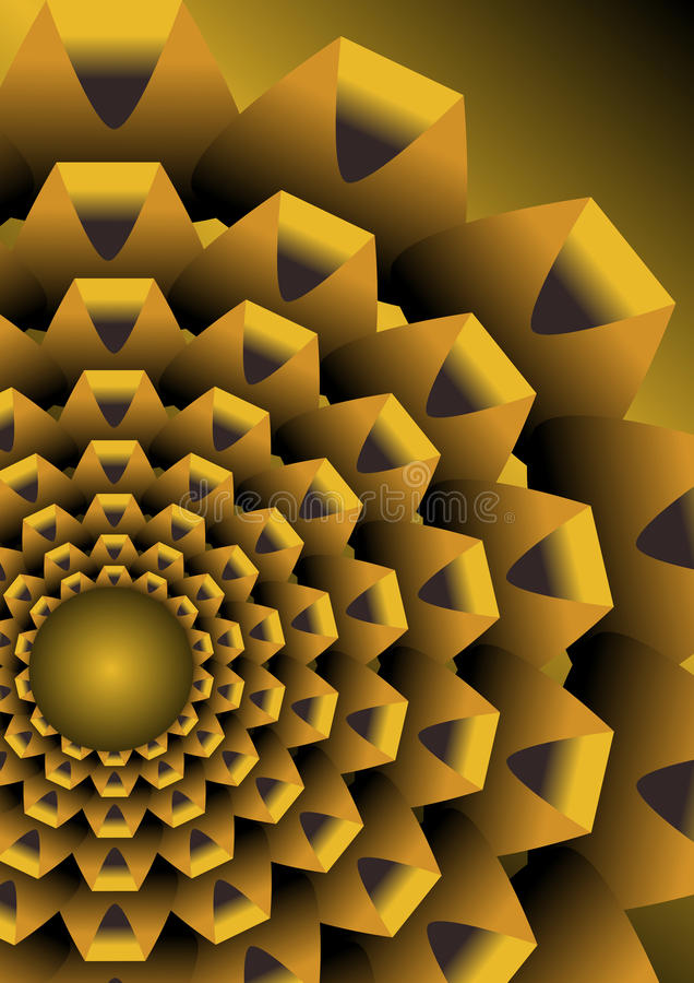 Abstract background with golden op art element royalty free illustration