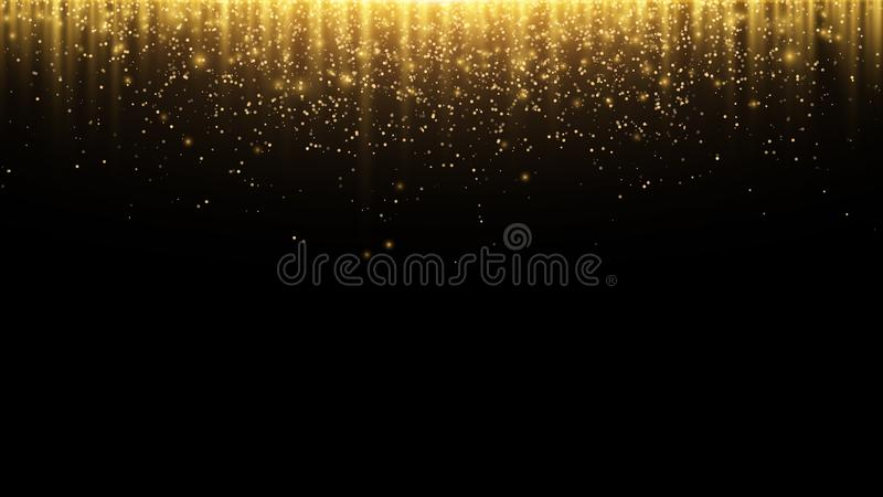 Abstract background. Golden rays of light with luminous magical dust. Glow in the dark. Flying particles of light. Vector royalty free illustration