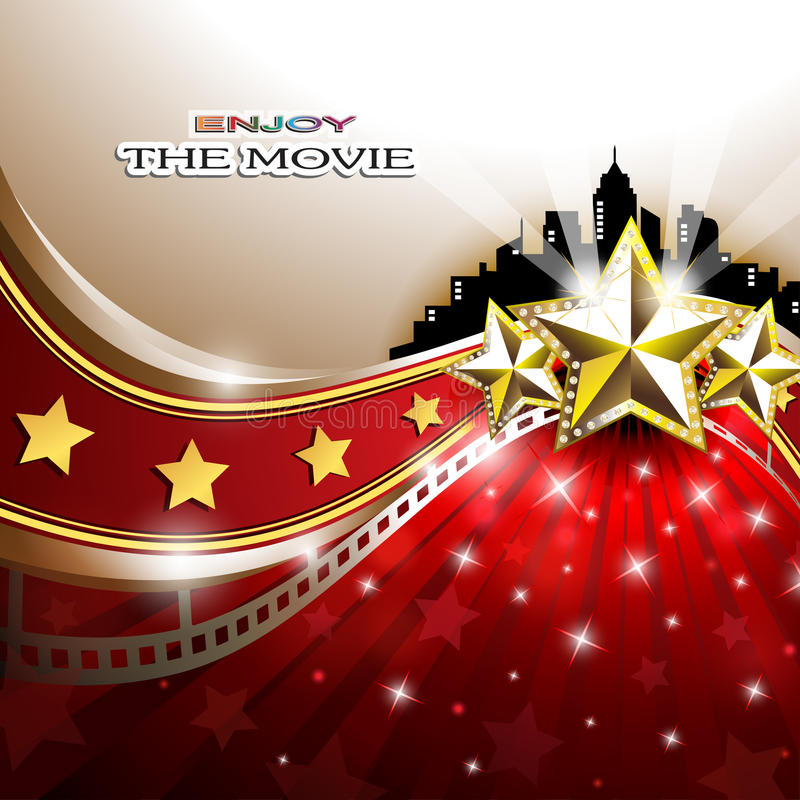 Abstract Background with Golden Stars in front of Cityscape. Vector illustration of an abstract background with wavy red carpet, golden stars and spotlights in stock illustration