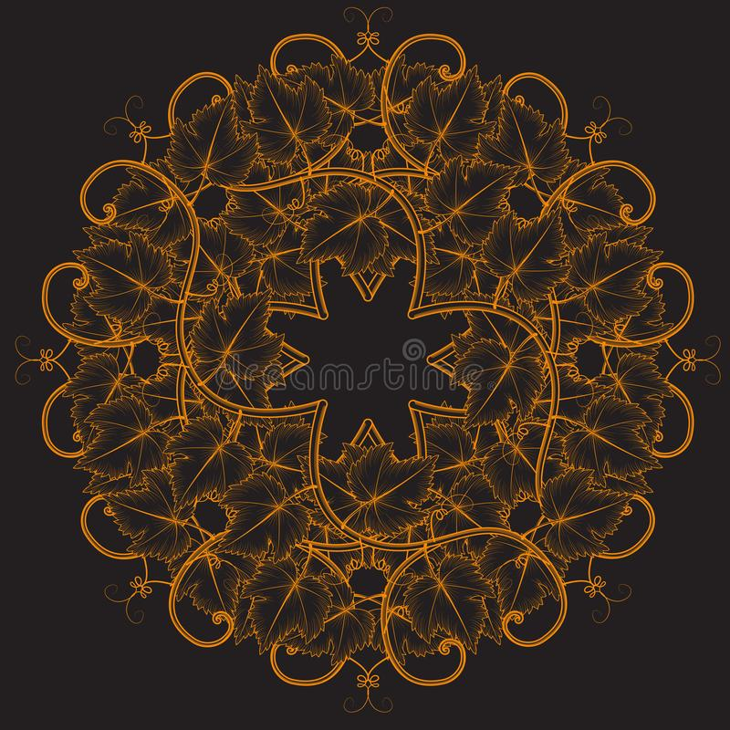 Abstract background grape vine and leaves black. Vector image royalty free illustration