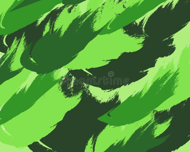 Abstract background green chaotic dabs brush. Fashionable vector colorful pattern with brush strokes.Vector illustration. Background design. Abstract hand stock illustration