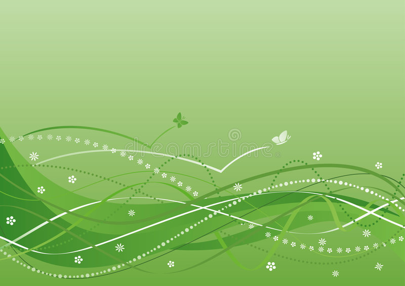 Download Abstract Background - Green Flowers And Waves Stock Vector - Image: 7902542