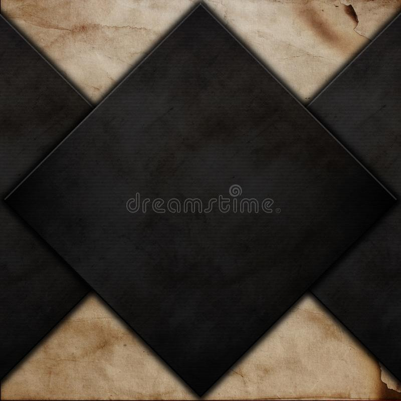 Abstract background with grunge metal on old paper texture stock illustration