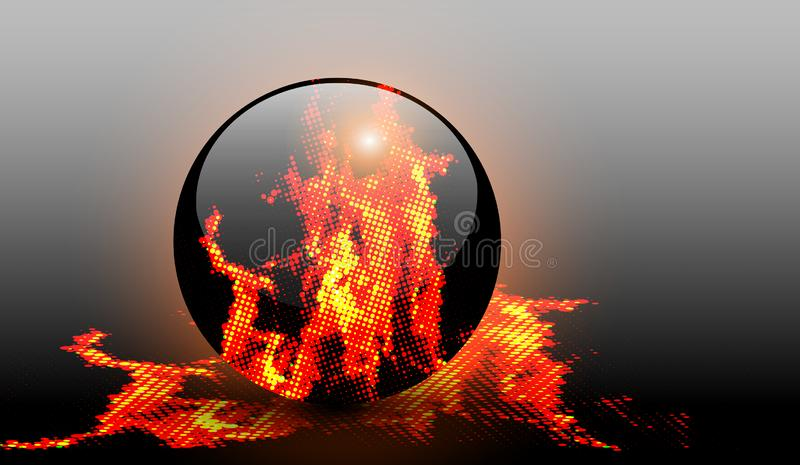Abstract background with halftone fire. Vector design royalty free illustration
