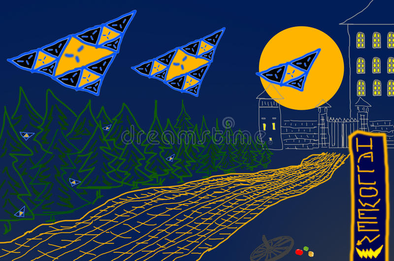 Abstract background Halloween night ghosts above road against moon and castle royalty free stock image
