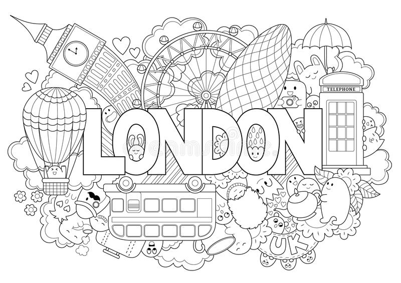 Abstract background with hand drawn text London. Hand lettering. Template for advertising, postcards, banner, web design. Printing on clothes stock illustration