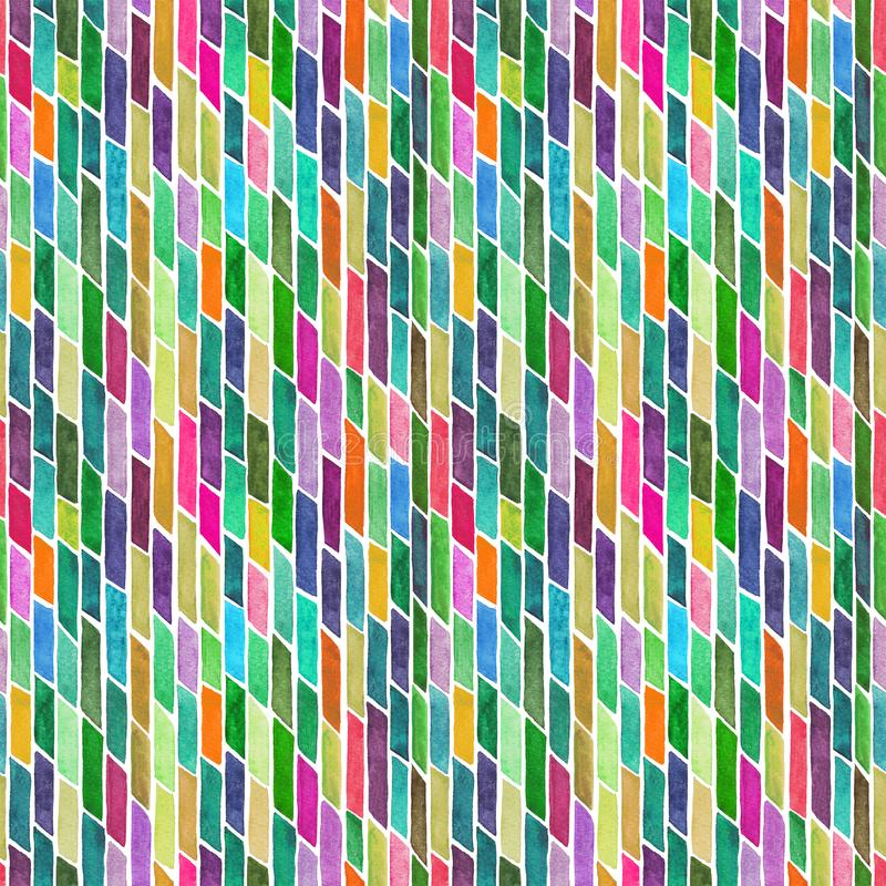 Abstract background with hand painted watercolor stripes or bricks.  royalty free illustration