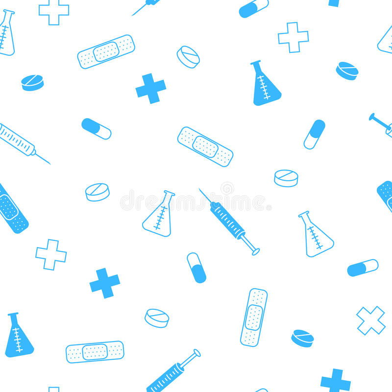 Abstract background health medicine tablet patch syringe seamless pattern blue vector illustration