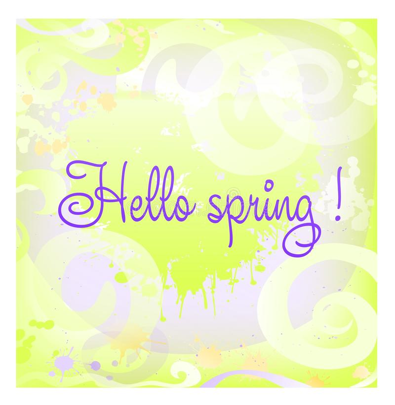 Abstract background Hello spring with swirls . Banner. Cover. Gift card . stock illustration