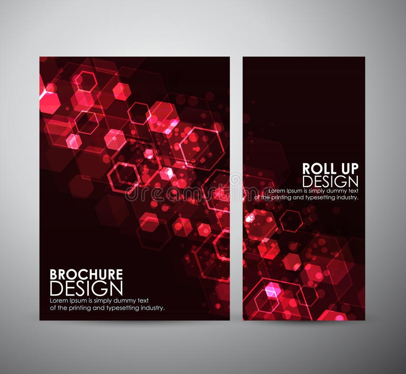 Abstract background hexagons. Brochure business design template or roll up. stock illustration