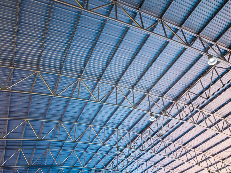 Abstract background high colorful blue and orange metal roof corrugated architecture . royalty free stock photos