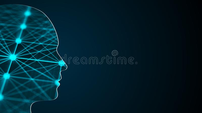 Abstract background with human head. Technology concept backdrop. 3d rendering royalty free illustration