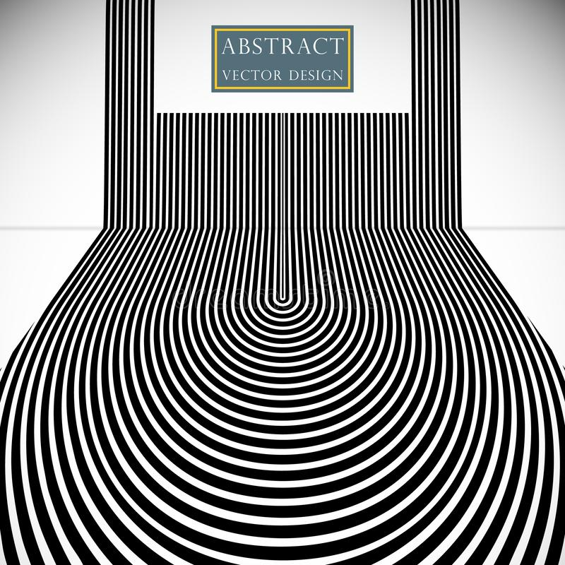 Abstract background the hypnotic lines of the strip. Vector dizzying banner illustration, poster monochrome flat style. vector illustration