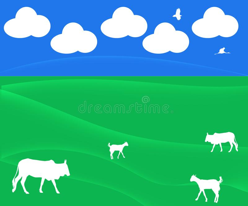 Abstract Background Illustration with Clouds, Pasture, Cattle. Goats , Birds for Agriculture , Dairy Industry , animals husbandry Website Themes , Backgrounds vector illustration
