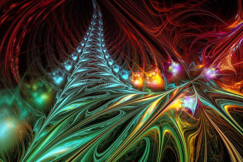 Abstract background illustration of fractal multicolored waves stock photos