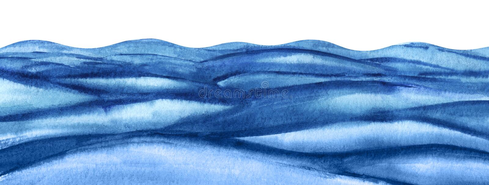 Abstract background illustration. Rough surface of the reservoir. A lot of blue turquoise waves. Wavy watercolor sea. Abstract background illustration. bottom royalty free stock photos
