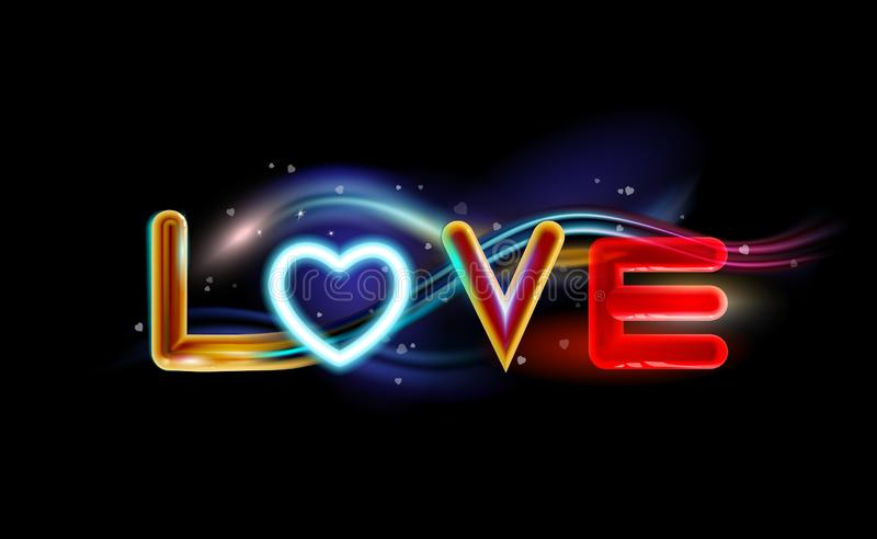 Abstract background inscription love with heart neon radiant effect. Multicolor holiday design, night art illumination. Space vector illustration